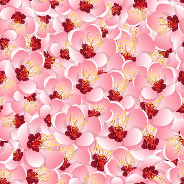 Momo peach flower blossom seamless background Premium Vector
