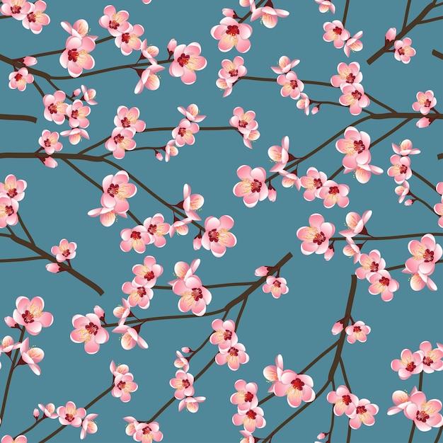 Momo peach flower blossom seamless on blue background Premium Vector