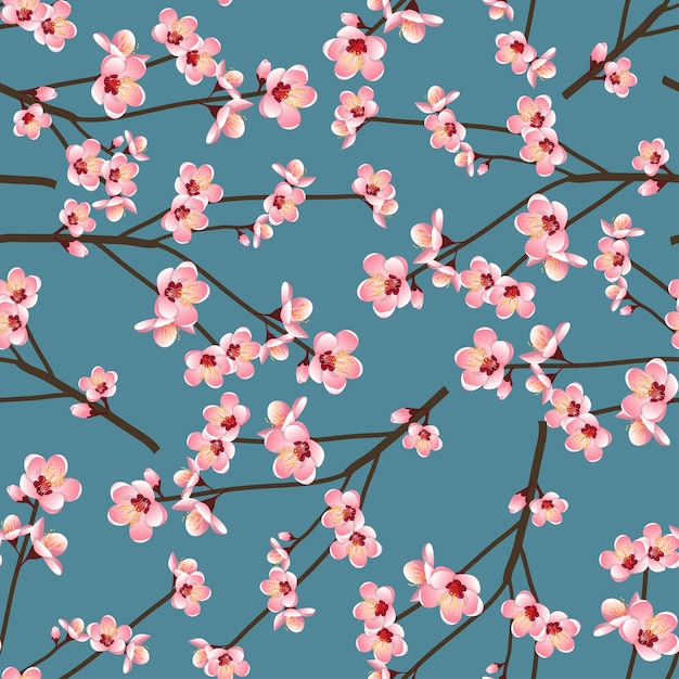 Цветок momo peach цветок бесшовные на синем фоне Premium векторы