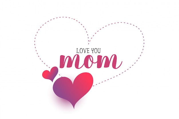 Mon love hearts mother's day greeting Free Vector