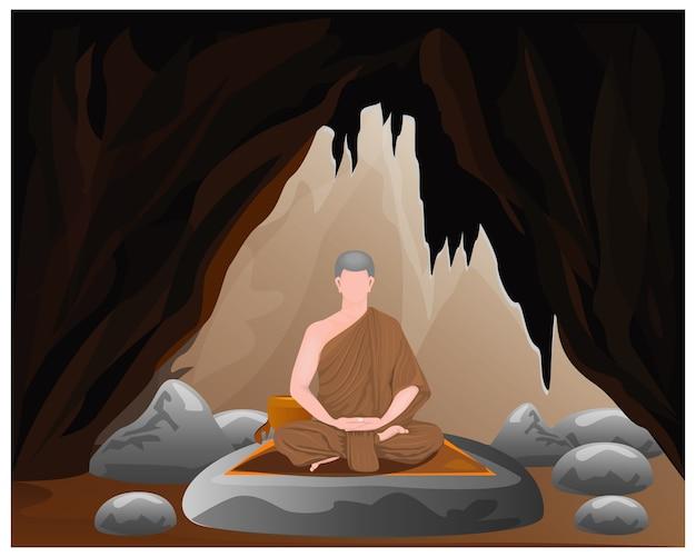 洞窟で一人の僧mon瞑想 Premiumベクター
