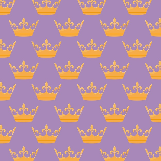 Monarchical crown icon pattern Free Vector