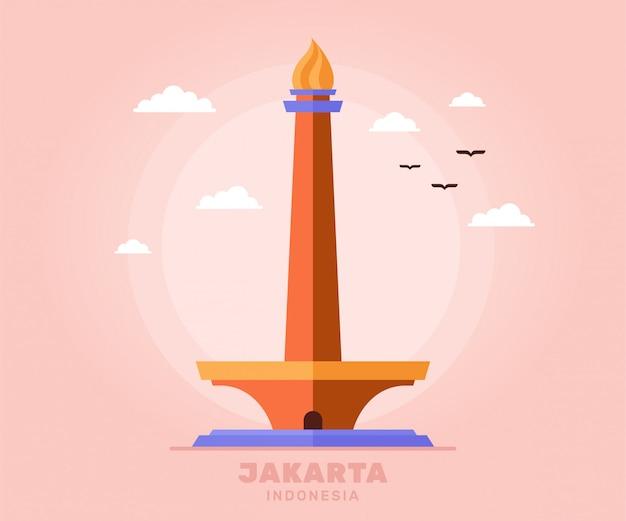 Монас джакарта туризм праздник путешествия индонезии Premium векторы