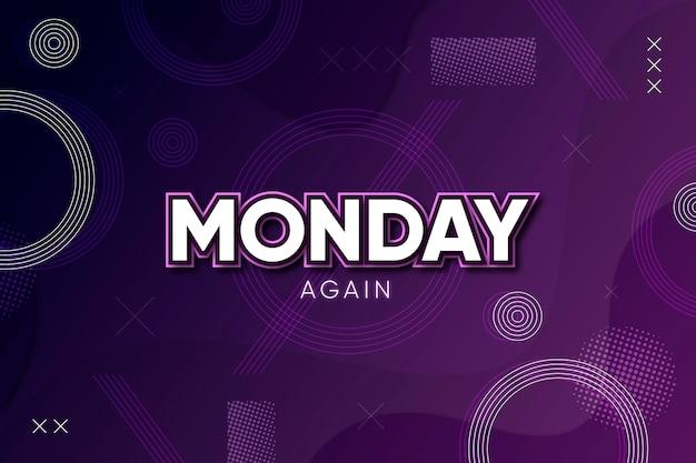 월요일 다시 보라색 배경 프리미엄 벡터