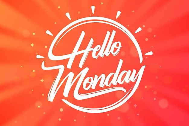 Monday background with lettering Free Vector