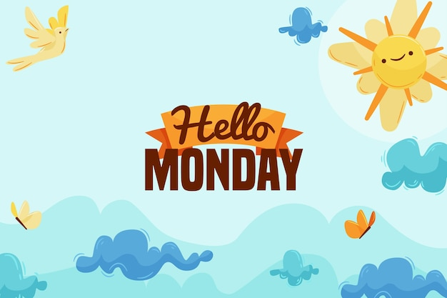 Monday background with sun and sky Free Vector