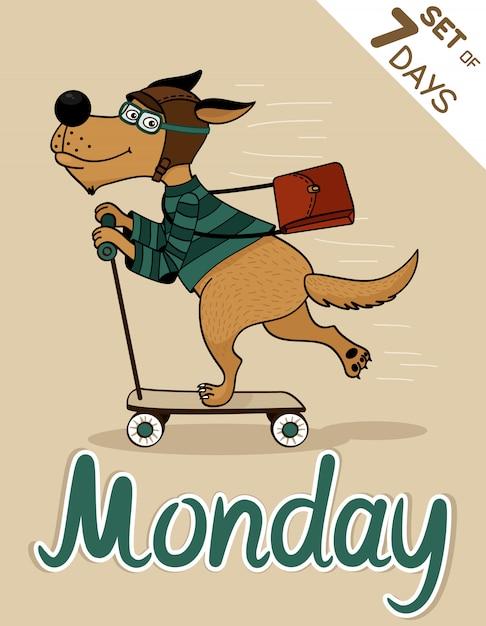 Monday dog weekdays hipster Free Vector