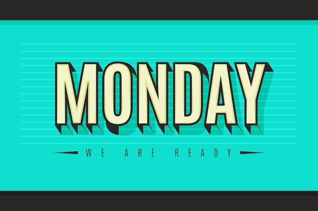 月曜日は良い日があります青い背景 Premiumベクター