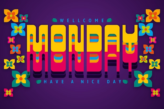 Monday have a nice day digital flowers background Free Vector