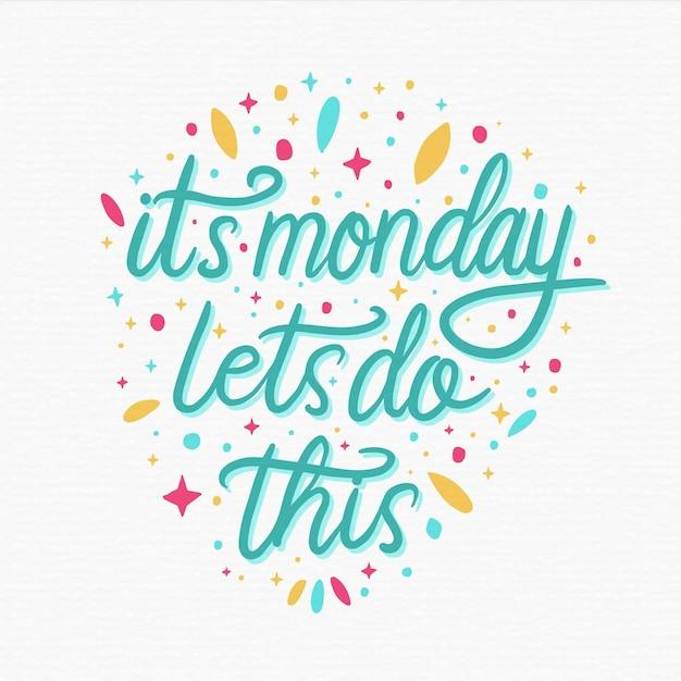 Понедельник, надпись положительное сообщение Premium векторы