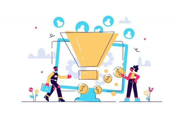 Monetization tips. increasing conversion rates strategy. attracting followers. generating new leads, identify your customers, smm strategies concept. bright vibrant violet isolated illustration Premium Vector