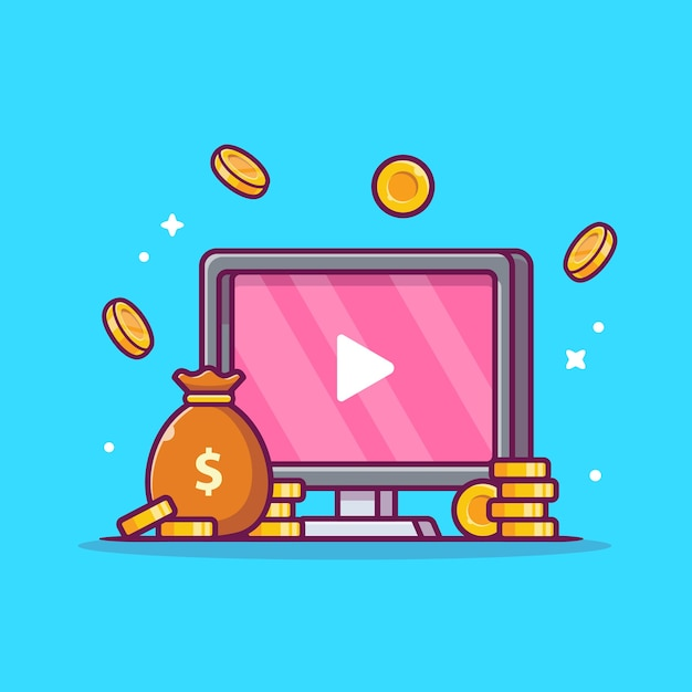 Monetize ads videos cartoon icon illustration. Free Vector