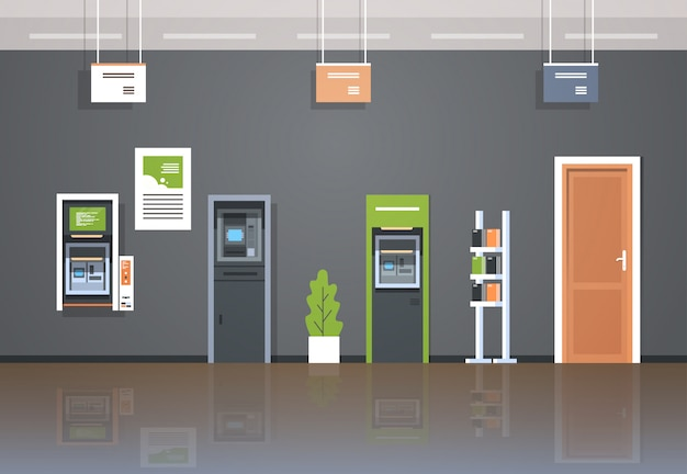 Money automatic teller machine Premium Vector