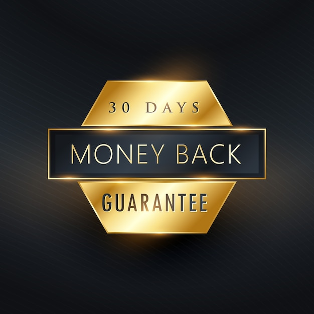 Money back guarantee golden label badge Free Vector