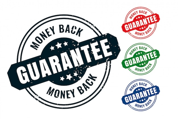Money back guarantee rubber label stamp seal set Free Vector