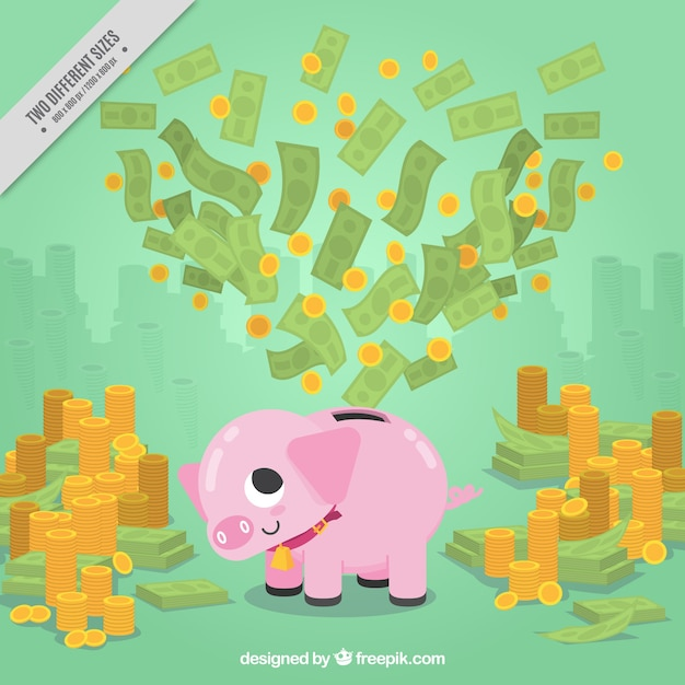 Money background with piggy bank and mountains of coins and banknotes Free Vector