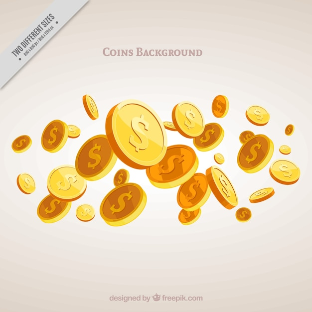 Money background with several golden coins Free Vector