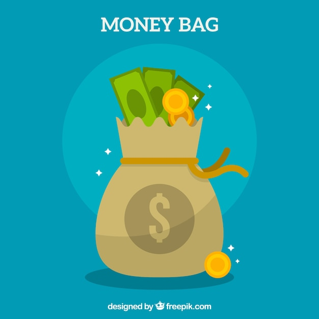 Money bag background with banknotes and\ coins