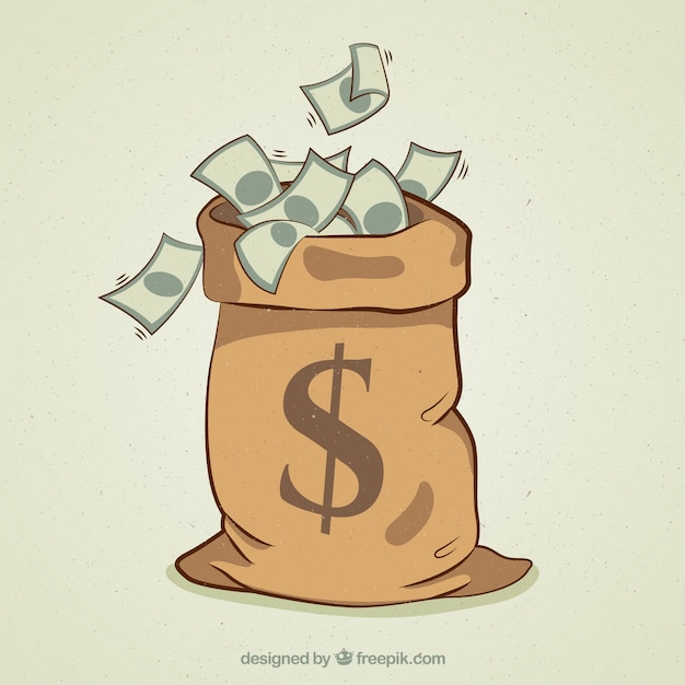 Money bag background with banknotes