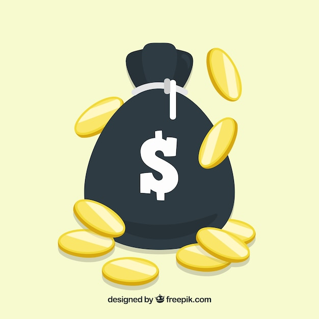 Money bag background with coins