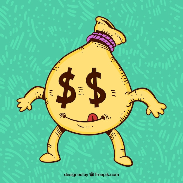 Money bag character background with dollar eyes