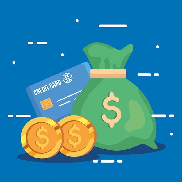 신용 카드와 동전 돈 가방 무료 벡터