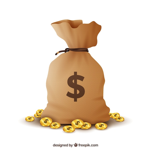 Money bag with dollars background