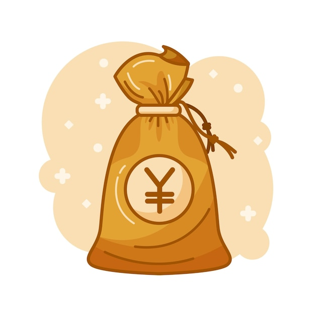 Money bag with yen money inside Free Vector