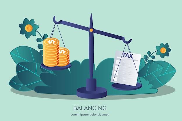 저울에 대한 세금과 돈 균형 프리미엄 벡터