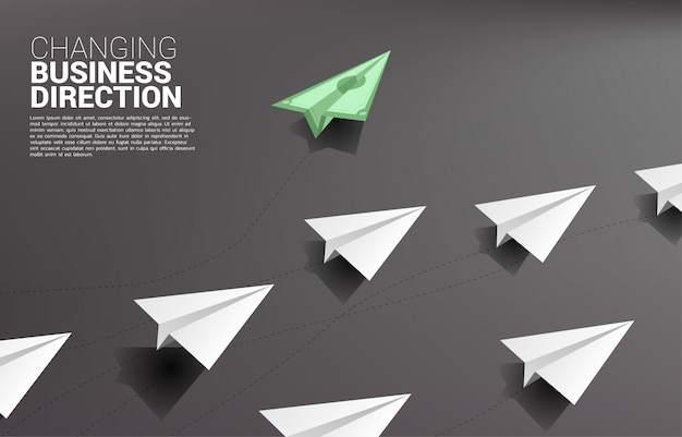 Money banknote origami paper airplane going out from group of white. business concept of disruption and vision mission. Premium Vector