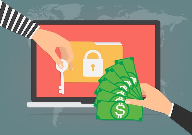 Money banknote for paying ransomware malware virus Premium Vector
