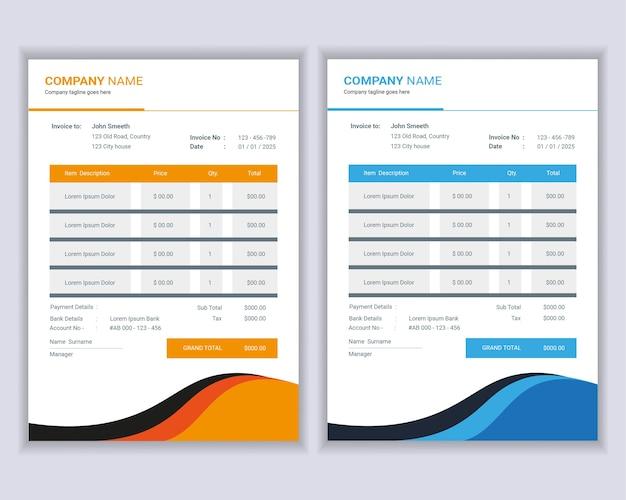 Денежные счета или шаблон счетов-фактур. Premium векторы
