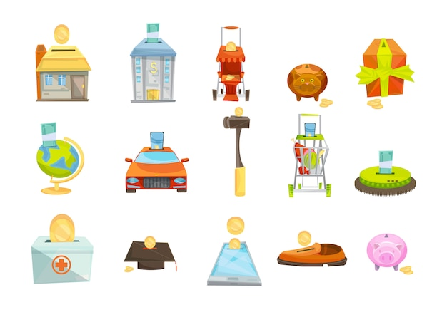 Money box isolated icons set Free Vector