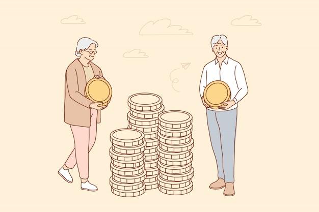 Money, business, insurance, deposit, saving concept Premium Vector