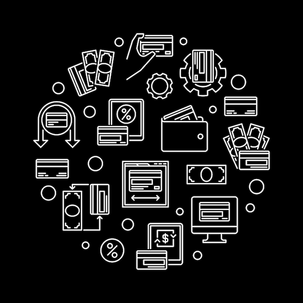 Money and cash cards  circular outline illustration Premium Vector