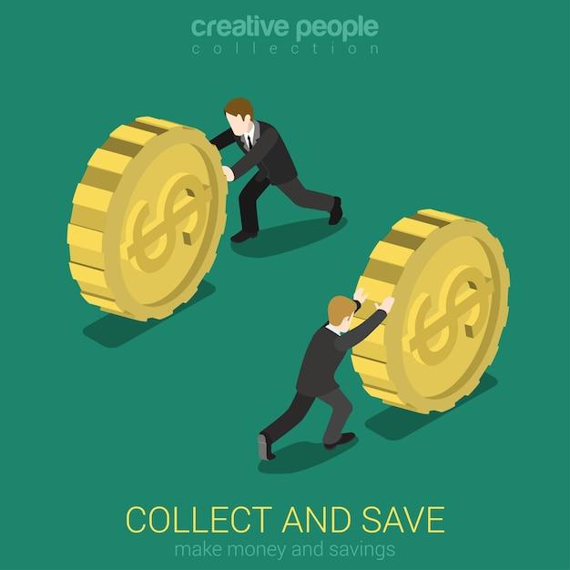 Il denaro raccoglie e salva il concetto di infografica isometrica web 3d piatto Vettore gratuito
