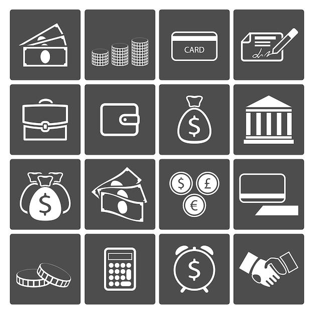 Insieme dell'icona di concetto di denaro Vettore gratuito