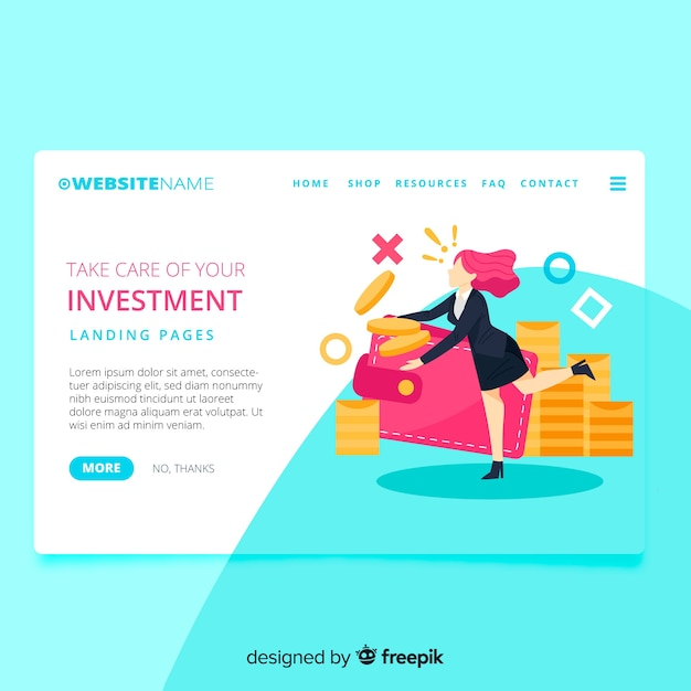 Money concept landing page Free Vector