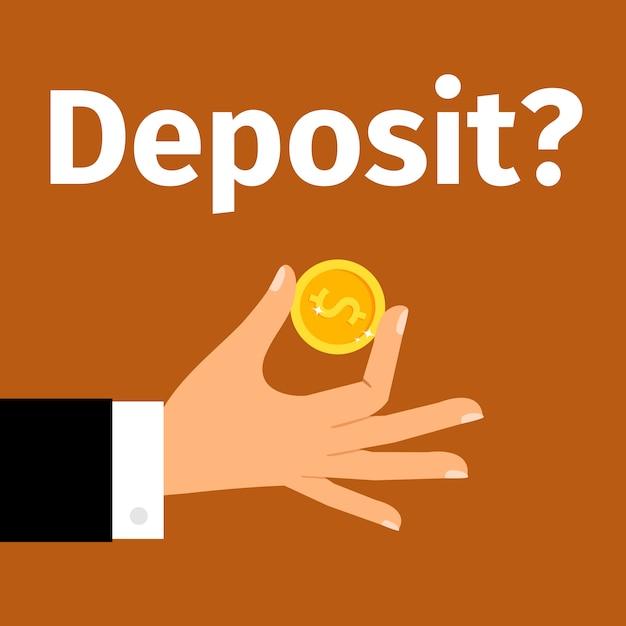 Money deposit Premium Vector