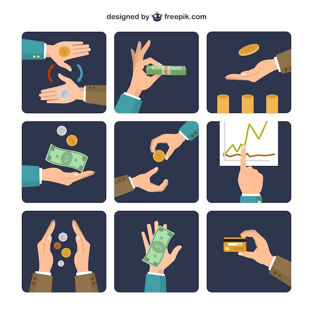 Money exchange icons Free Vector