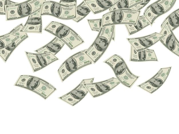 떨어지는 돈. 비즈니스 개념 달러 지폐 현금 비 경제 투자 제품 부 배경. 프리미엄 벡터
