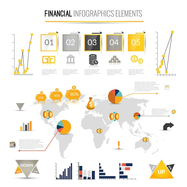 Finance Graphics: Money Finance Business Infographic With Financial Icons