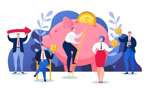 お金金融経済、貯金箱の図に富の投資。金融コインキャッシュバンキングのコンセプトです。人々はアカウントで通貨預金とドル収入を節約します。 Premiumベクター