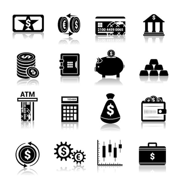 Money finance icons black Premium Vector