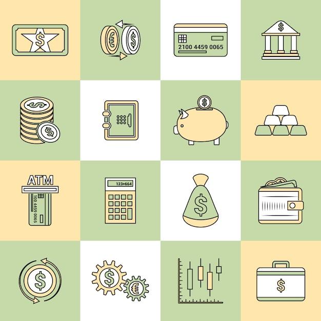 Money finance icons flat line Premium Vector