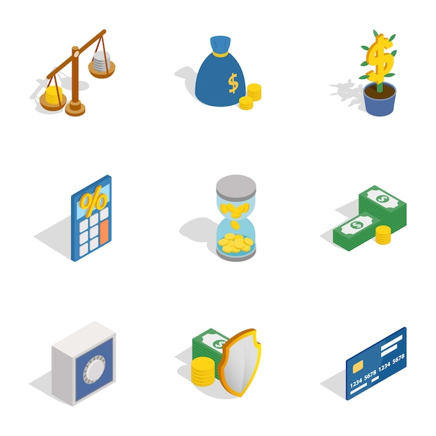 Money and finance icons, isometric 3d style Premium Vector