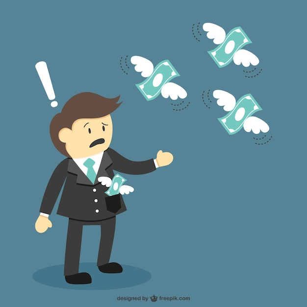 Money flying cartoon vector Premium Vector
