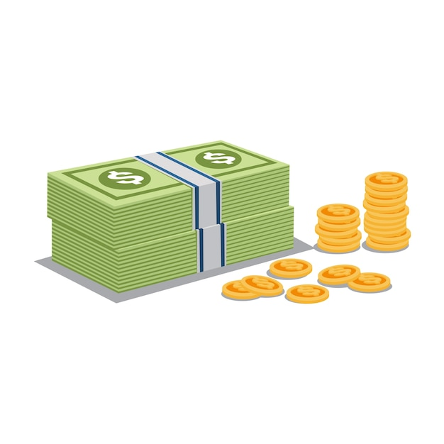 Money and gold coins vector Premium Vector