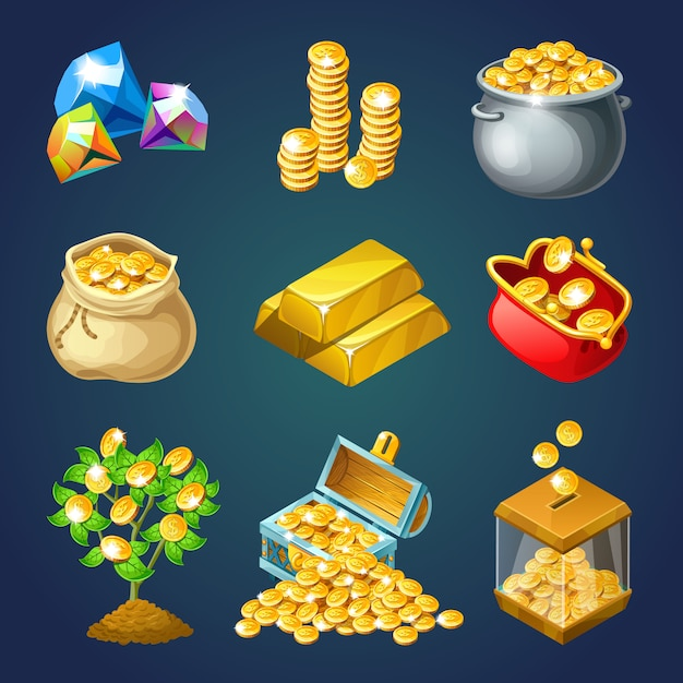 Money and gold for computer game. Premium Vector