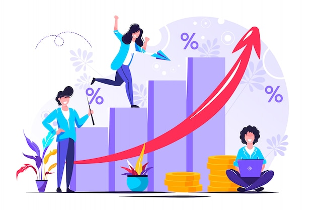 Money growth prediction and progress report Premium Vector